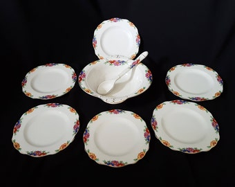 Art Deco Burleighware Fruit Salad / Dessert Bowl and Six Dessert Plates