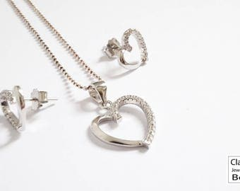 Jewellery set, jewelry set, sterling silver heart pendant necklace and earrings, heart earrings, jewelry gift, gift for her,handmade jewelry