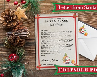 Rustic Santa Letter Kit with Envelope, Letter from Santa editable diy kit,santa claus rustic christmas,template instant download printable