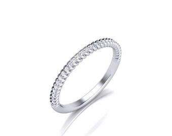 Women's Rope Diamond Wedding Band - Diamond Prong Wedding band - Round Dainty Diamond Band - 0.14 ct Diamond Weight