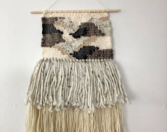 Woven Wall Hanging in Dark Patches