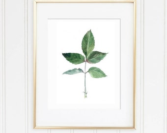 green leaf print, Leaf watercolor, watercolor home décor, green watercolor, Botanical Wall Art, watercolor leaf art, botanical art print