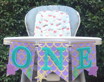Mermaid Banner, Mermaid Highchair Banner, Mermaid 1st Birthday Banner, High Chair Banner, Mermaid Party Banner, Under the Sea Birthday Party