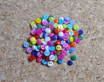 100 mini buttons, Micro buttons, Tiny buttons, 6mm buttons, Miniature buttons, Mixed color buttons, Micro mini buttons, Doll buttons