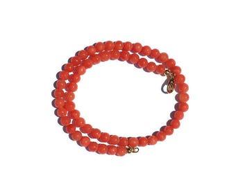 Jade beads necklace jade-jade Beads Necklace Coral-Pink