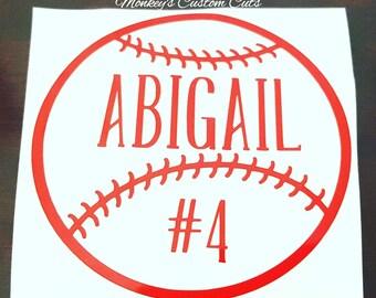 Baseball Car Decal, Softball Car Decal, Car Decal, Car, Decal, Baseball, Softball, Ball, Sports, Sports Decal, Sports Car Decal, Ball Decal