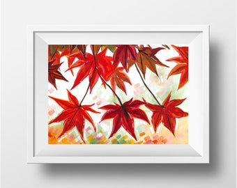 Acrylic Painting on Paper - Changing Maple Leaves, Autumn/Fall Home Decor, Contemporary Art