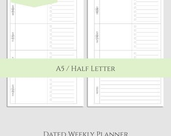 "2018 Dated Weekly Printable Planner Inserts, Horizontal, Daily To-Do's, Weekly Notes ~ A5 / 5.5"" x 8.5"" Instant Download (WTDN)"