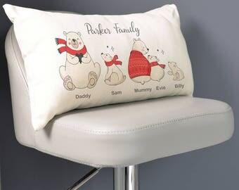 Personalised Bear Family Cushion