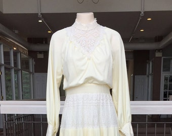 Vintage Antique White Wedding Gown with Lace Inserts #818
