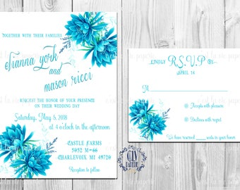 Elegant Blue Floral Wedding Invitation Suite