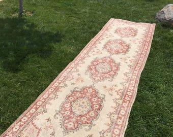 """Oushak runner rug,floor runner rug,3x10""""9ft.vintage runner rug,turkish runner rug,rug runner,runner rug,runner,carpet runner,old runner rug."""