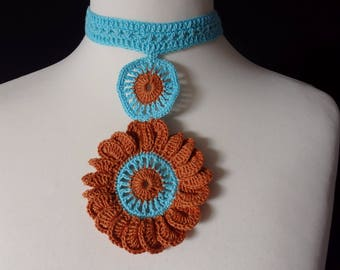 Crochet Plastron Necklace Flower, Turquoise and Brown Cotton yarns