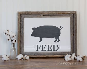 Farmhouse Kitchen Printable Art with Pig, Farm Digital Print, Kitchen Decor