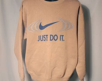 90s BOOTLEG Nike Swoosh Big Logo Sweatshirt Sz Medium Silver Glitter Graphic Streetwear Knockoff Unofficial Grunge Basketball Just Do It JDI