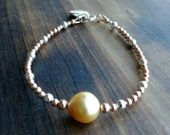 South Sea Golden Peal, Rose Gold Filled and Sterling Silver Beads Bracelet with LOVE Charm