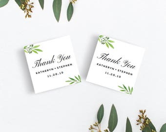 Greenery Wedding Thank You Tags Template Download, Printable & Editable Watercolor Wedding Tag, Thank You Label, Template Instant Download.
