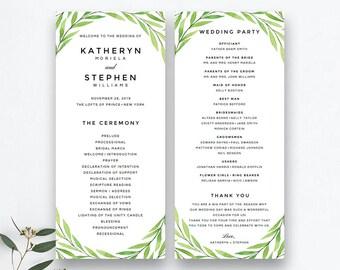 Printable Wedding Program Template, Greenery Wedding Program Printable Template, Printable Watercolor Botanical Wedding Program PDF Template