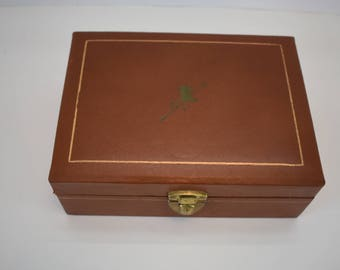 Male's Jewelry Box Mele Gen. Lea. 24 KT. Gold Trimmed Top Hat, Gloves and Cane Decoration Vintage