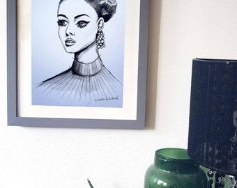Original Watercolour portrait Fashion Illustration A4