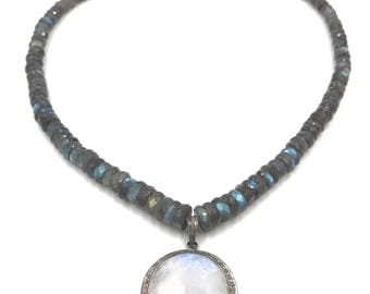Short diamond moonstone labradorite necklace, Labradorite necklace, Pave diamond jewelry, Pave diamond necklace, Moonstone jewelry