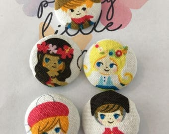 """Covered buttons and badges """"Children from all over the world"""""""