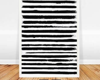 Abstract Wall Art Print, Modern Minimalist Print, Black and White, Painting, Abstract Art, Brush Stroke, Printable Poster, Digital Download