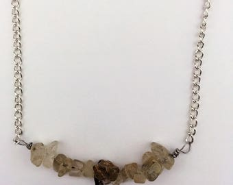 Gold Rutilated quartz crystal necklace, Gold crystal necklace, Gold quartz bead necklace, Gold quartz necklace, sterling silver necklace