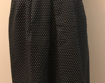 Vintage Talbots Polka Dot Pleated Belted Skirt - Black and Yellow - Size 4