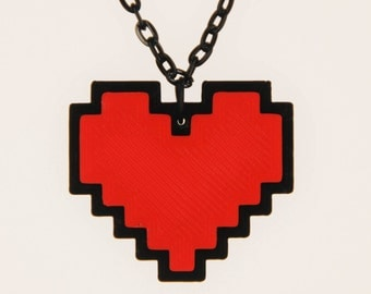 Undertale Cosplay Necklace Digital 8 Bit Pixel Heart Zelda Heart Container