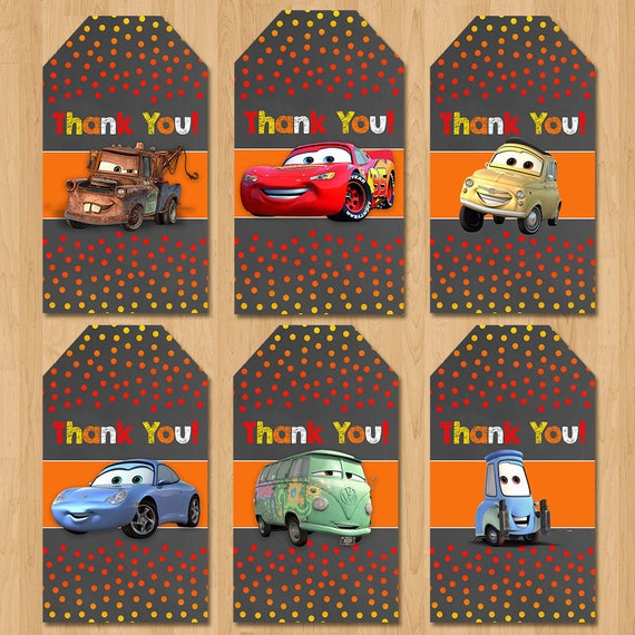 Disney Cars Party Tags - Chalkboard Orange Red - Lightning Mcqueen Cars Birthday Party - Disney Cars Party Favor Tags - Cars Birthday Tags