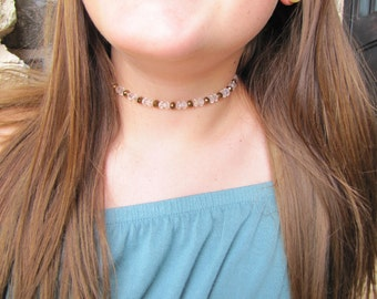 Bronze and clear choker