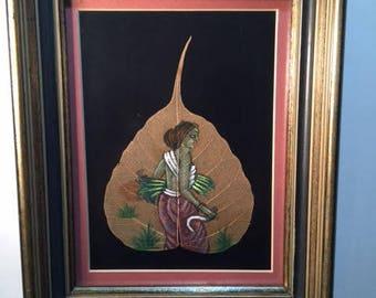 Peepal Leaf Painting, Framed, India Art