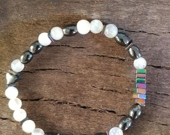 GODS PLAN Morse code bracelet (sample only) you pick the stone and size of stone for your spiritual needs hematite will be used to seperate