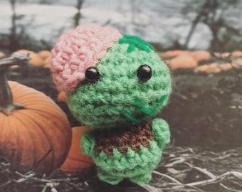 Zombie, Amigurumi, crocheted figurine, doll, Halloween, spooky, scary, presentidea, autumntime, Halloweencostume, october, trick or treat