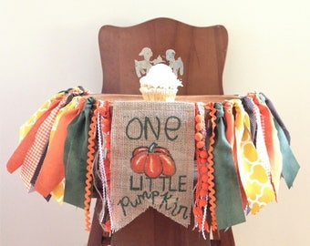 One Little Pumpkin Fall First Birthday High Chair Banner/Cake Smash Photo Shoot Prop/Birthday Party Decor/Green Yellow Orange/Customize Flag