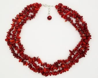"""19"""" Chinese Red Coral Nacklace"""