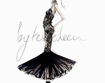 Balmain Resort 2018 Fashion Sketch in Black and White