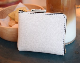 ZIPPER WALLET - Leather zipper wallet, Leather wallet, Leather card wallet, Small wallet, Card holder, Zipper pouch - Ivory white