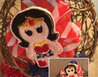 Handmade shabby chic Wonder Woman headband, photo prop, gender reveal, child headband, adult headband, superhero headband