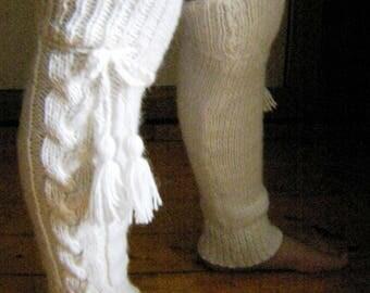 Leg warmers,  coarse thickness alpaca yarn, winter accesory,handmade knit the leggings, knit wool, Valentines day gift