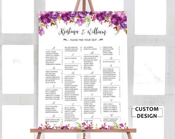 Wedding Seating Chart Alphabetical, Purple Wedding Seating Chart, Wedding Seating Chart,  Wedding Seating Chart Poster, RUSH SERVICE