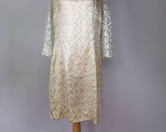 60s 70s Vintage Silver Lace Disco A-Line Dress - Bell Sleeves - Mini Dress