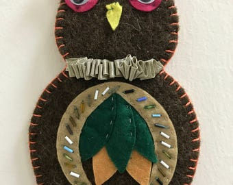 Felt owl, Wool felt owl, owl, felt brown owl