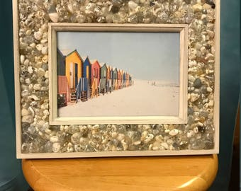 Wooden Picture Frame with Beach Agate Edge