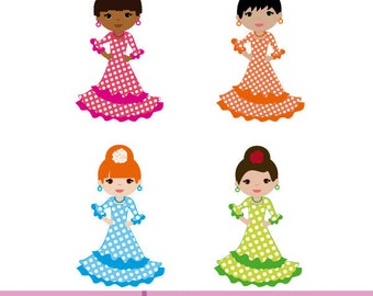 Set of 4 girls dressed in flamenco dresses with pink, orange, blue and green polka dot dresses.