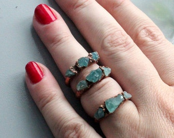 Raw aquamarine ring, electroformed crystal, electroforming jewelry, stecking rings, raw aquamarine , multistone ring, bohemian ring, for mom