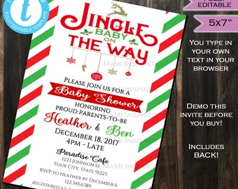 Christmas Baby Shower Invitation Jingle Baby on the Way Invite Holiday Party Present Template Custom Printable diy INSTANT Self EDITABLE 5x7