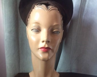 1940s Brown Halo Hat
