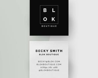 Personalized Square Business Cards, Minimal Calling Cards, Customized Black and White Contact Cards, Office Stationery, Digital Download